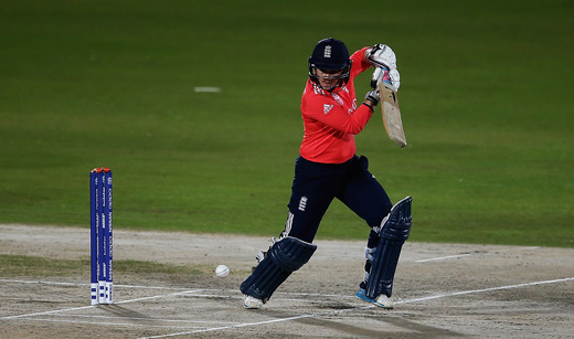Tammy Beaumont of England hits the ball towards the boundary during the Women's ICC World Twenty20 India 2016 match between England and the West Indies at the HPCA Stadium photo credit:  ICC/Getty Images