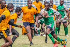 Azeez Ladipo of Cowrie RFC leading an offensive attack   against Police RFC