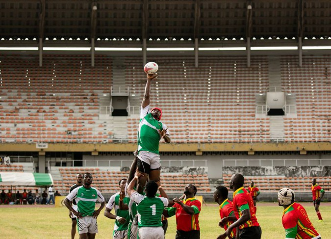 Hafis Ayinla of Cowrie RFC Picking the ball in a line out Against Kaduna during the 2016 Rugby Super Cup