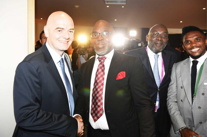 FIFA President Gianni Infantino (l) with NFF President Pinnick (second left), Ivorian FA boss Sidy Diallo and former African Player of the Year Samuel Eto'o Fils at the 66th FIFA Congress in Mexico City.