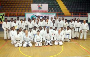 Coporate pic of all karatekers at the workshop, in the front row from  Hajiya Zainab Saleh, Mr Robert Bamgboye,Andy Hunt from the Uk, Sensei Tomiko Mitsuoka and the chairman Lagos Karate Association