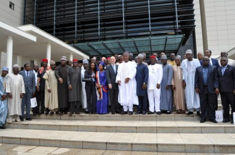 A group Photograph of the FIFA, CAF, NFF and NASS members with the Senate President, Bukola Saraki