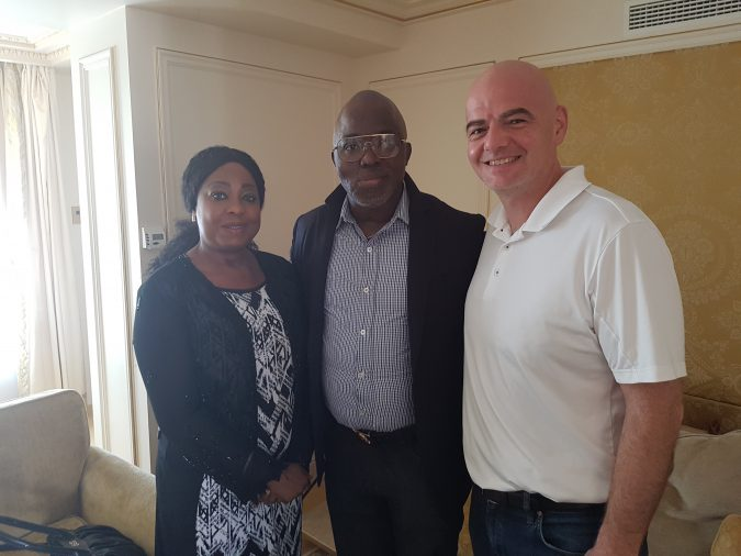 Fatma Samoura, Amaju Pinnick and Gianni Infantino