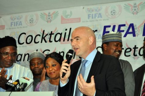 FIFA President Gianni Infantino Speaking during the Cocktail At Abuja, Flanked by Barrister Solomon Dalung, MS Samoura and Shehu Dikko