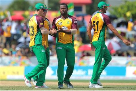 Guyana Amazon Warriors celebrate the wicket of Ahmed Shahzad during the Hero Caribbean Premier League (CPL) Match 28 between Barbados Tridents and Guyana Amazon Warriors at Central Broward Stadium in Fort Lauderdale, Florida, USA. Photo by Ashley Allen/Sportsfile