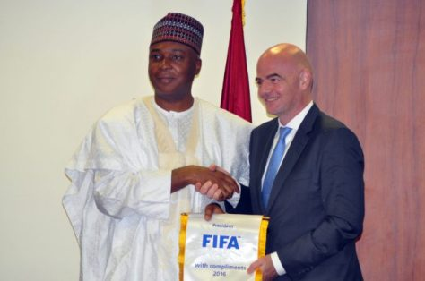 President of the Senate, Dr. Bukola Saraki with FIFA President Gianni Infantino