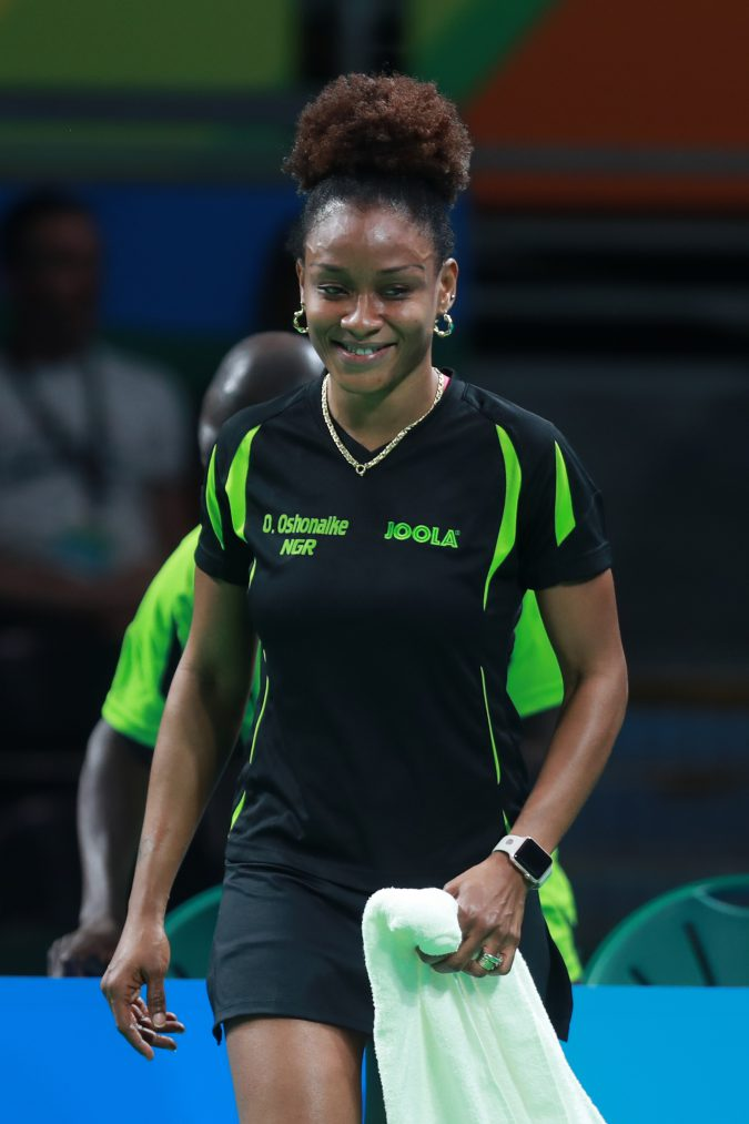 Olufunke Oshonaike (NGR) after escaping a scare in the preliminary round of the women's singles in Rio on Saturday, August 6. PHOTO: ITTF