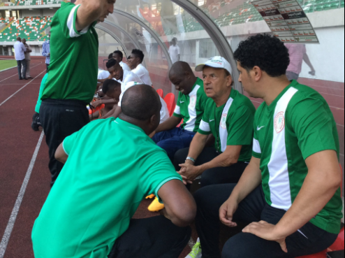 Coach Rohr with Technical Crew during a Super Eagles game photo credit: @theNFF