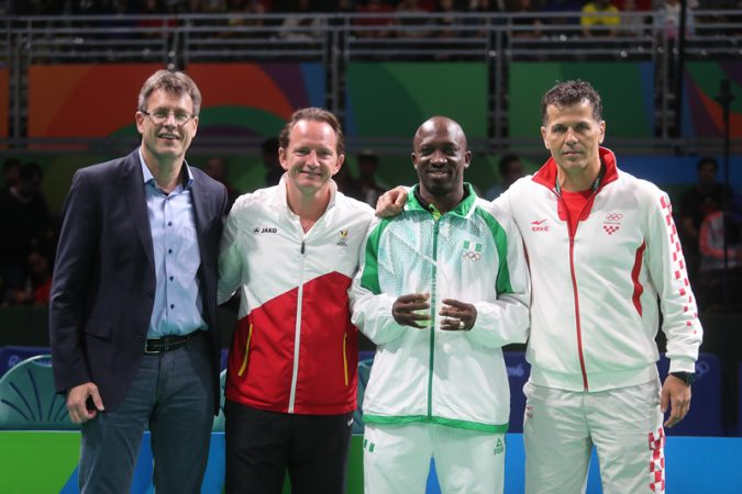 ITTF President, Thomas Weikert; Belgium's Jean-Michel Saive; inductee, Nigeria's Segun Toriola and Croatia's Zoran Primorac during the special award to Toriola as the first African to attend seven Olympic Games in Rio on Friday August 12, 20016.