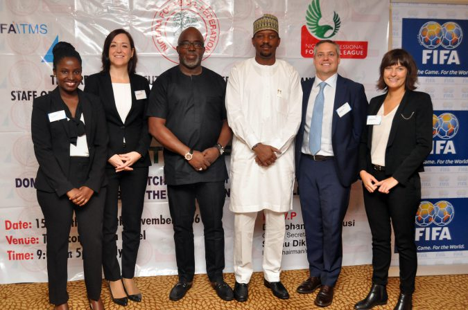Amaju Pinnick and Shehu Dikko with FIFA officials in Nigeria for the TMS workshop Prisca Mutesi (Legal Counsel, Integrity and Compliance); Bertrand Vinit (Project Manager); Annabel Belzunce (Client Services Coordinator) and; Natalia Pliszczak (also a Clients Services Coordinator).