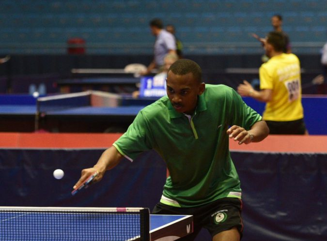 Byrone Abrahams on duty at the 2016 ITTF Africa Senior Championship in agadir, Morocco...