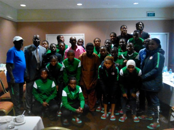 UNICEF Director Olushola Ismail with Nigeria Falconets