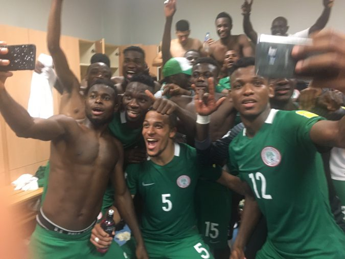 Nigeria Super Eagles Celebrate Victory over Algeria photo credit Elderson Echiejile