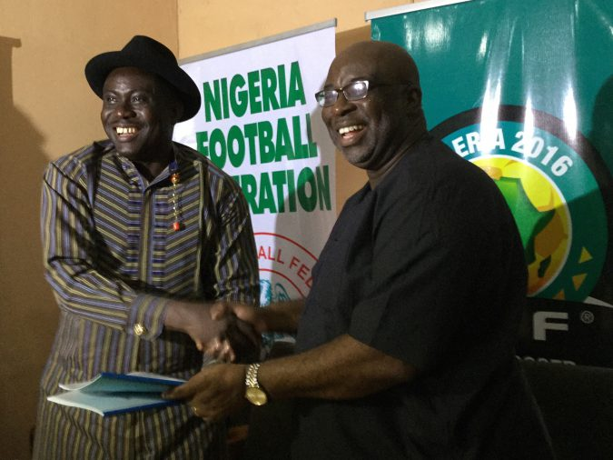 SWAN President Honour Sirawoo (left) and LOC Chairman Seyi Akinwunmi at the signing ceremony..JPG