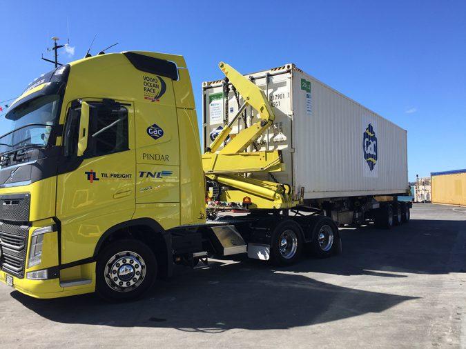 Volvo Ocean Race cargo arriving in Auckland credit TNL GAC Pindar