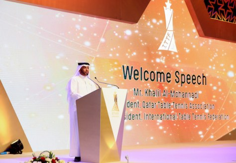 Mr Khalil Al-Mohannadi addressing the guests at the recent Seamaster Qatar 2016 ITTF Star Awards