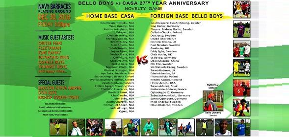 bello-boys, Christ Ambassadors Sports Association, CASA, Bello Boys FC,