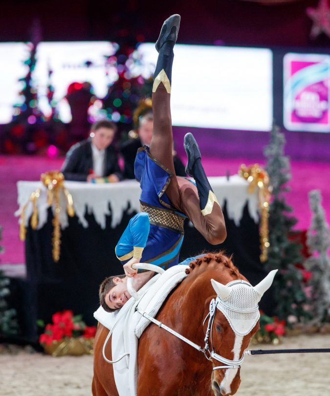 Salzburg, 9.12.2016, FEI VAULTING WORLD CUP, Vaulting, Lukas HEPPLER (SUI) with Ramazotti 155. Photo (FEI/Tomas Holcbecher)