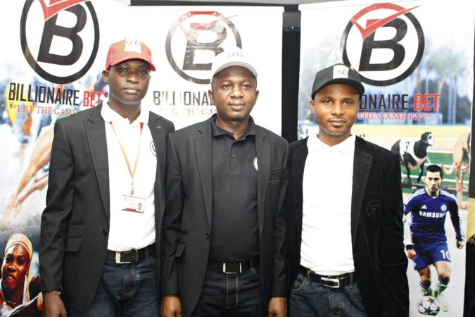 From L-R, Head of ICT & Operation Billionaire Bet Mr Sunday Owoeye, Head of Sales Billionaire Bet Mr Adole Kenneth & Head of Finance Billionaire Bet, Mr Emmanuel Dibie at the unveiling of Billionaire Bet at Grasshoppers House on December 23rd 2016.