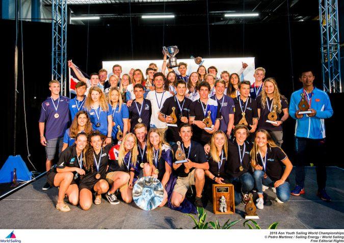 Group shot of the winners at the 2016 Aon Youth Sailing World Championships photo credit: World Sailing