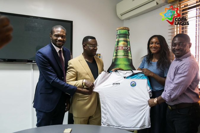 Enyimba FC Chairman Mr. Felix Anyansi, Sales Director and Marketing Manager of Hero Lager, Mr. Godwin Oche and Ms. Jennifer Balogun, Mr. Samson Adamu, Managing Director of Kinetic Sports, COPA Lagos