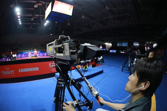 Women's Singles semi-final : Ding Ning (CHN) / Mu Zi (CHN ).QOROS 2015 World Table Tennis Championships,26 Apr 2015 - 03 May 2015, Suzhou, CHN Soon you can watch table tennis from any position in your living room.