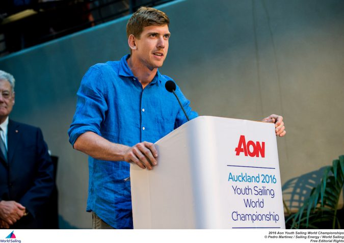Peter Burling Speaking at  the Aon Youth Sailing World Championships Closing ceremony  photo credit: World Sailing