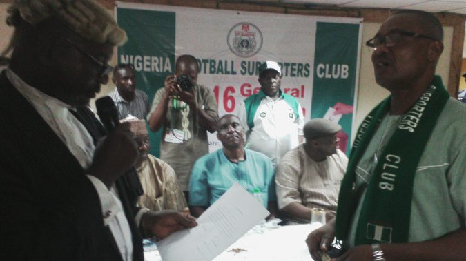 Revd Sam lkpea being sworn-in as the President of Nigeria Football Supporters Club