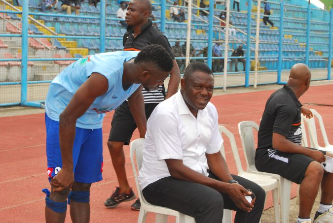 Rivers United's Stanley Eguma and Godwin Obinze