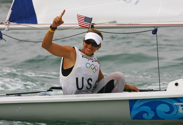QINGDAO, CHINA - AUGUST 19:  Anna Tunnicliffe of the United States of America celebrates overall victory in the Laser Radial class event following the medal race held at the Qingdao Olympic Sailing Center during day 11 of the Beijing 2008 Olympic Games on August 19, 2008 in Qingdao, China.  (Photo by Clive Mason/Getty Images)