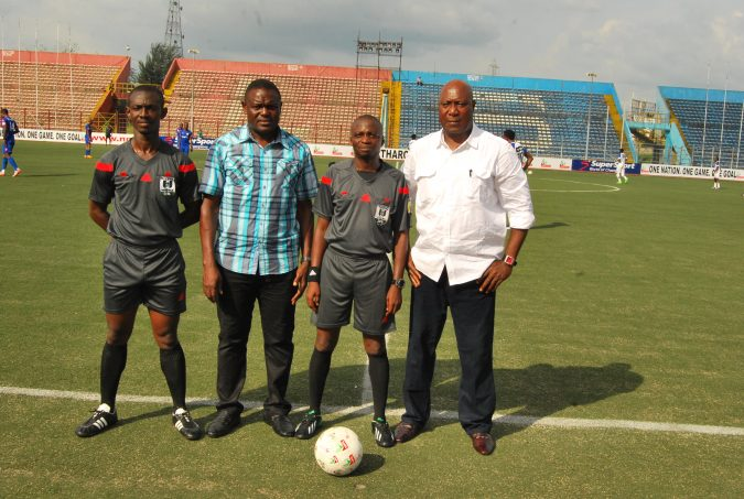 Eguma and Uwua with Match officials before a previous encounter between Rivers United and Lobi Stars