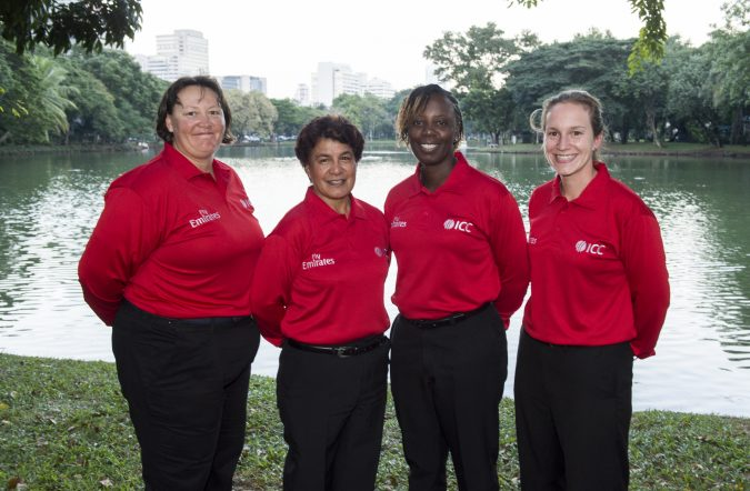 Kathleen Cross, Sue Redfern, Claire Polosak, Jacqueline Williams for ICC Women's World Cup Qualifier Colombo