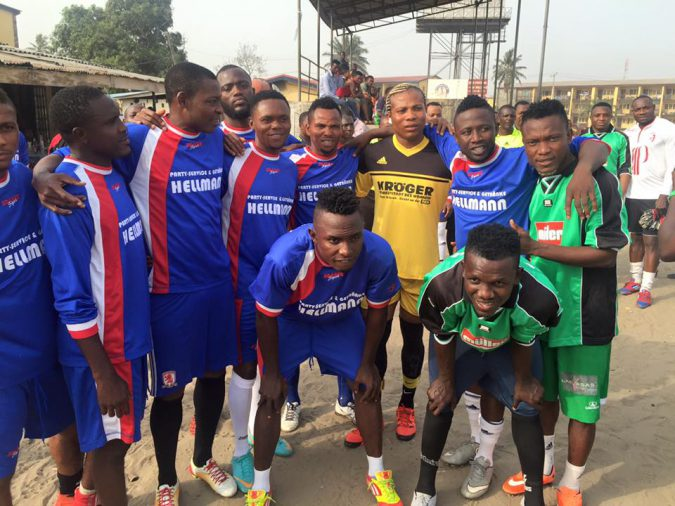 Paul Banney (standing 2nd right)  with pals at Ajegunle