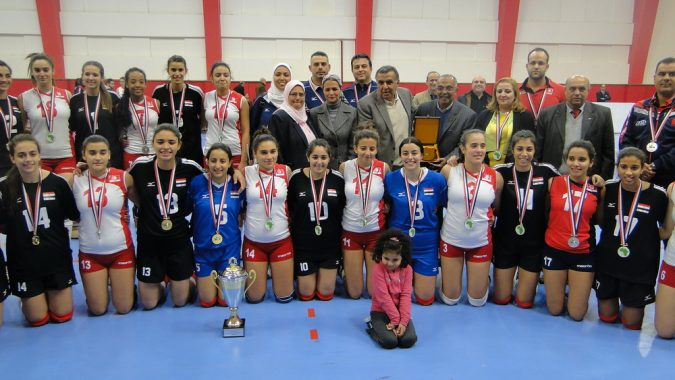 a collective picture of the finalist Egypt and Tunisia with officials of the CAVB