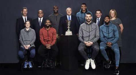 FIBA President Horacio Muratore (centre) poses with the Naismith Trophy and is joined by - back row (from left to right): Craig Zanon, Vice President and General Manager of Nike Global Basketball; Lynn Merritt, Vice President of Nike Global Basketball Sports Marketing; LeBron James (USA); Giannis Antetokounmpo (GRE); FIBA Central Board Members Jim Tooley (USA Basketball CEO/Executive Director) and Michele O'Keefe (Canada Basketball President and CEO); front row (from left to right): Lindsay Whalen (USA); Kyrie Irving (USA); Marc Gasol (ESP); Paul George (USA). credit: FIBA