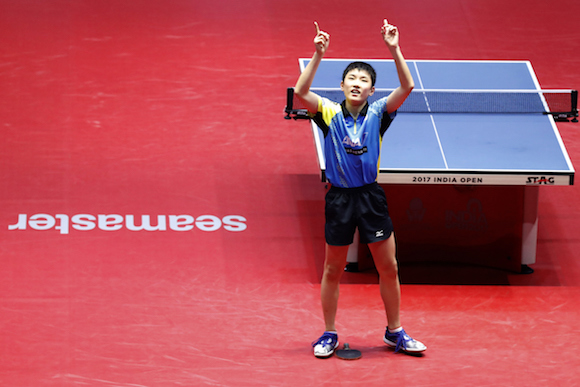 Harimoto Tomokazu of Japan waves to the crowd after win the game against  Sharath Kamal Achanta of india  during the men's  singles Semi Final match held as part of the of the 2017 ITTF WORLD TOUR India held at the Thyagaraj Sports Complex stadium in New Delhi India on the 18th February 2017 Photo by: Arjun Singh / SPORTZPICS