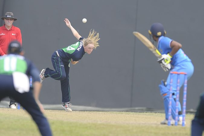 Ireland's Kim Garath had final figures 1 for 38 in her teams encounter with India during the ICC Womens World Cup Qualifiers 2017, Colombo Sri Lanka. 10th Feb