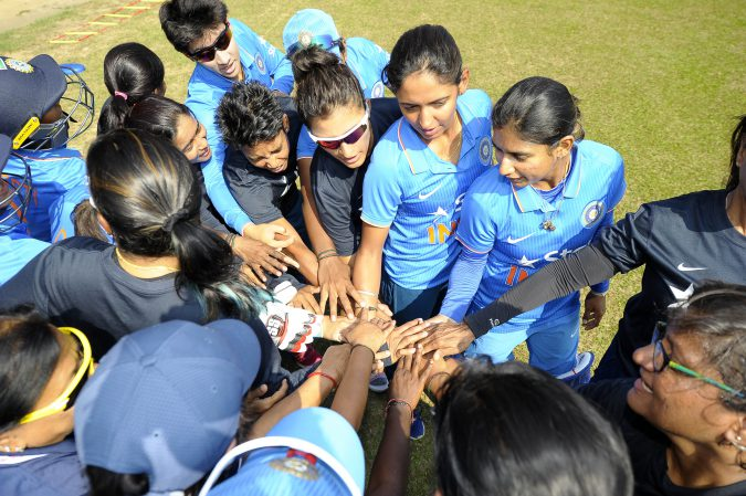 Indian team hundle prior to their first match in the ICC Womens World Cup Qualifiers 2017, Colombo Sri Lanka. 7th Feb.