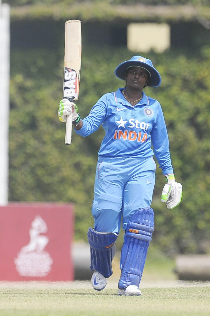 India's D. Thirushkamini finishes on 113 not out off 146 balls against Ireland in the ICC Womens World Cup Qualifiers 2017, Colombo Sri Lanka. 10th Feb