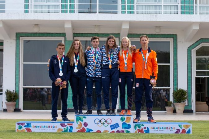 1a00742fb36c Dante Cittadini and Teresa Romairone (ARG) won gold in the Mixed Nacra 15  fleet in front of a packed Club Nautico San Isidro at the Youth Olympic  Sailing ...